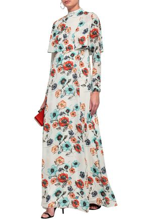 MIKAEL AGHAL Layered floral-print silk gown