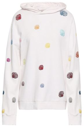 ROSIE ASSOULIN Embroidered French Pima cotton-terry hooded sweatshirt