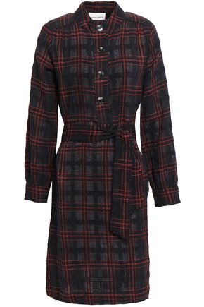 ANTIK BATIK Alto checked cotton-jacquard shirt dress