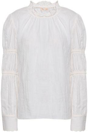 REBECCA TAYLOR Ruffle-trimmed cotton-twill top