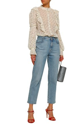 REBECCA TAYLOR Ruffle-trimmed printed fil coupé silk and cotton-blend blouse