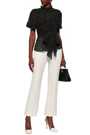 REBECCA TAYLOR Silk and cotton-blend fil coupé blouse