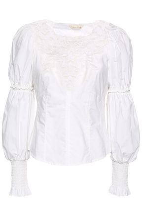 REBECCA TAYLOR Luna lace-paneled cotton-poplin blouse