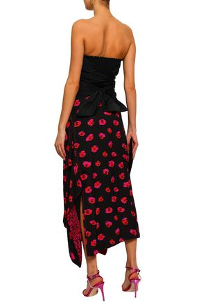 REBECCA TAYLOR Strapless bow-detailed ruched taffeta bustier top