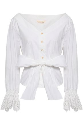 REBECCA TAYLOR Bow-detailed cotton-poplin shirt