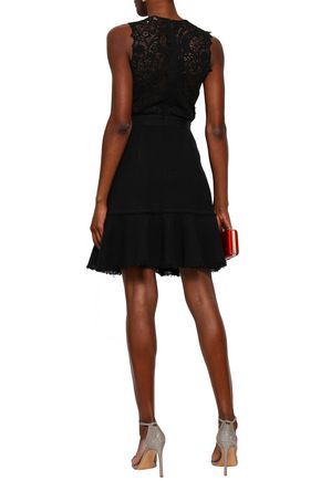 REBECCA TAYLOR Lace, stretch-crepe and tweed mini dress
