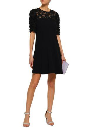 REBECCA TAYLOR Lace-paneled stretch-crepe mini dress