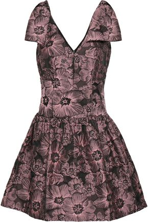 REBECCA TAYLOR Bow-embellished jacquard mini dress