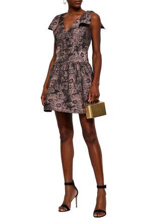REBECCA TAYLOR Bow-embellished jacquard mini dress
