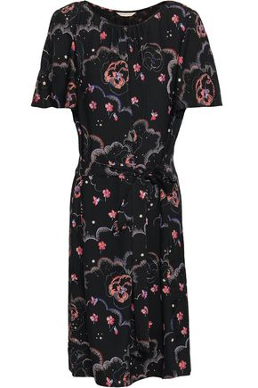 REBECCA TAYLOR Floral-print silk-jacquard mini dress