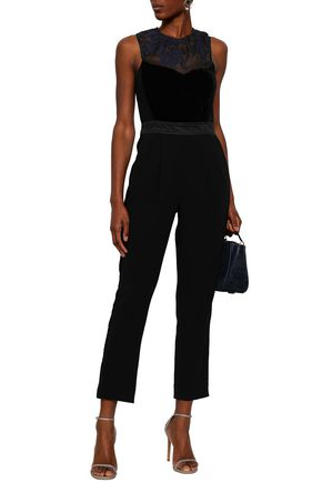 REBECCA TAYLOR Embroidered organza and velvet-paneled jumpsuit