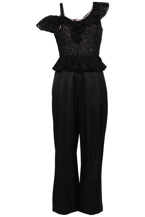 REBECCA TAYLOR Malorie cropped broderie anglaise silk-shantung jumpsuit
