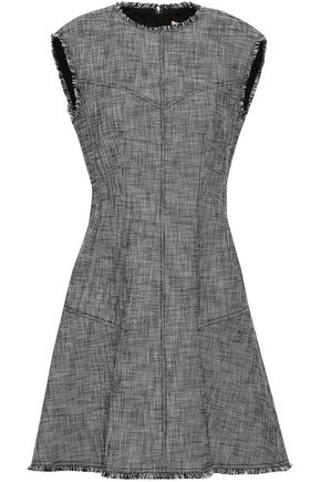 REBECCA TAYLOR Frayed cotton-blend tweed mini dress