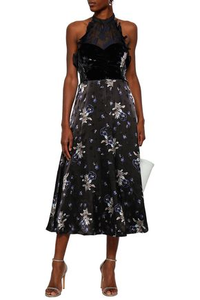 REBECCA TAYLOR Satin, organza and velvet midi dress