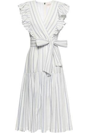REBECCA TAYLOR Wrap-effect striped stretch-cotton midi dress