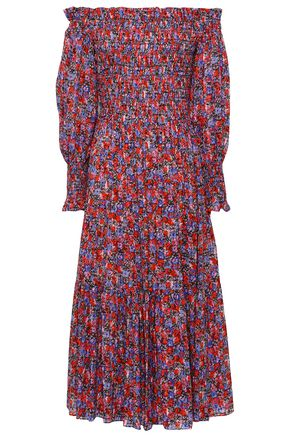 REBECCA TAYLOR Off-the-shoulder silk and cotton-blend midi dress