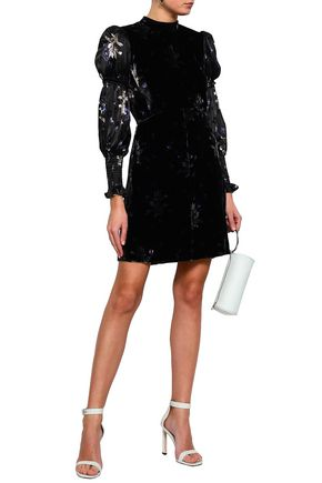 REBECCA TAYLOR Floral-print velvet fil coupé mini dress