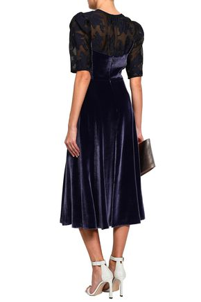 REBECCA TAYLOR Organza fil coupé-paneled velvet midi dress
