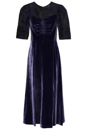 REBECCA TAYLOR Organza fil coupé-paneled velvet midi dress