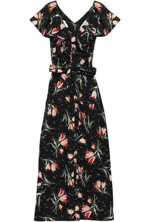 REBECCA TAYLOR Floral-print cotton-poplin midi dress