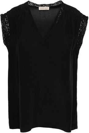 REBECCA TAYLOR Lace-trimmed silk crepe de chine top