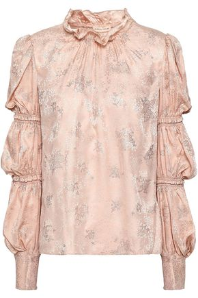 REBECCA TAYLOR Ruffled metallic silk-jacquard blouse