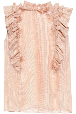 REBECCA TAYLOR Ruffled metallic silk-blend jacquard blouse