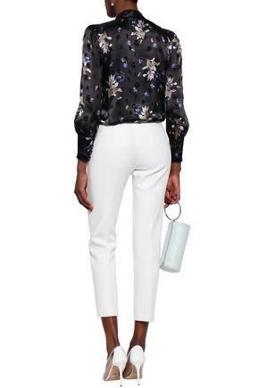 REBECCA TAYLOR Pussy-bow floral-print devoré-satin blouse