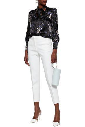 5c66c974ccf2ab REBECCA TAYLOR Pussy-bow floral-print devoré-satin blouse