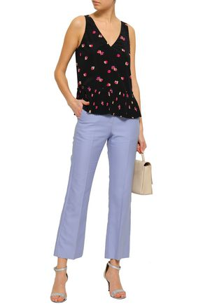 REBECCA TAYLOR Floral-print stretch-silk crepe de chine top