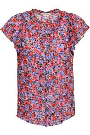 REBECCA TAYLOR Floral-print fil coupé silk and cotton-blend top
