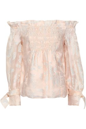 REBECCA TAYLOR Off-the-shoulder shirred fil coupé silk-blend organza blouse