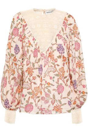 ANTIK BATIK Alina lace-paneled floral-print cotton-gauze blouse