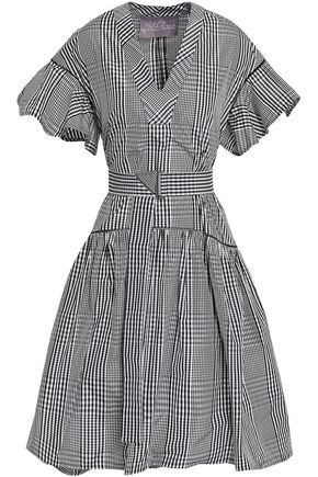 LELA ROSE Belted checked poplin dress