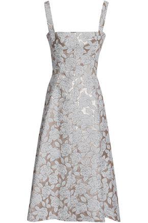 LELA ROSE | Lela Rose Flared Brocade Midi Dress | Goxip