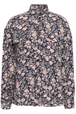 ANTIK BATIK フローラルプリント クレープ タートルネックシャツ