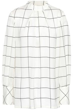 LELA ROSE Pleated checked crepe de chine blouse