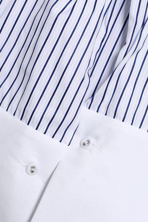 VICTORIA, VICTORIA BECKHAM Tie-front striped cotton-poplin top