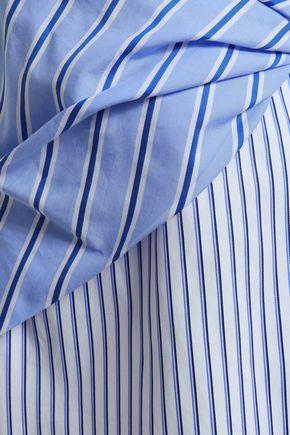 VICTORIA, VICTORIA BECKHAM Layered striped cotton-poplin mini dress