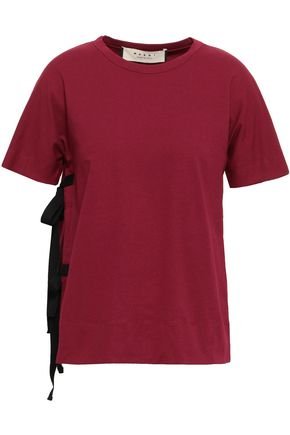 MARNI Lace-up cotton-jersey T-shirt