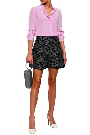 VICTORIA, VICTORIA BECKHAM Metallic cotton-blend jacquard shorts