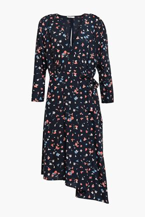 JOIE Asymmetric printed crepe de chine dress