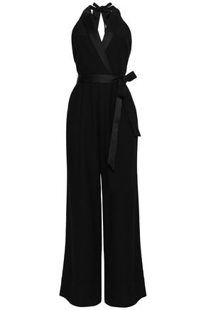 LOVER Open-back crepe and satin jumpsuit