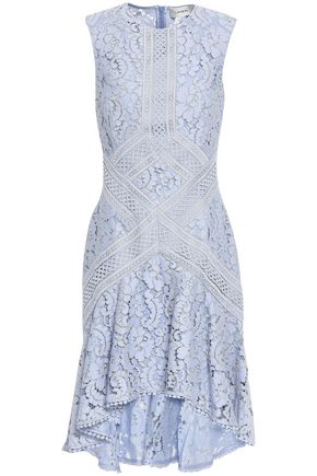 LOVER Braid-trimmed corded lace mini dress
