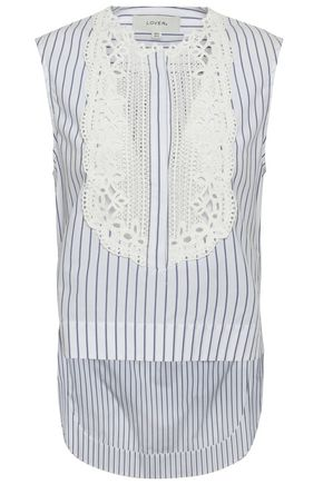 LOVER Guipure lace-paneled striped cotton top