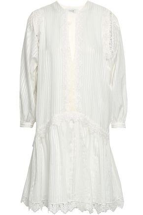 LOVER Hazel lace-trimmed silk and cotton-blend mini dress