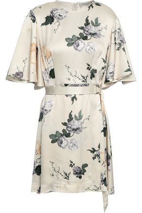 LOVER Floral-print satin mini wrap dress