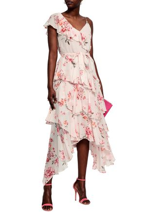 LOVER Tiered floral-print crepe dress
