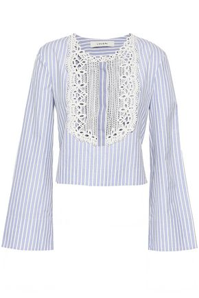 LOVER Lace-trimmed striped cotton-poplin shirt