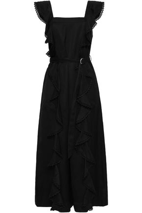 LOVER Belted ruffled piqué jumpsuit